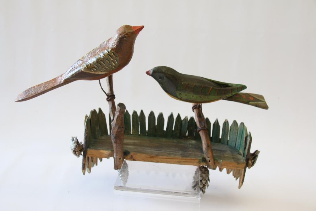 FOLK ART CARVED BIRD WALL HANGING - 5