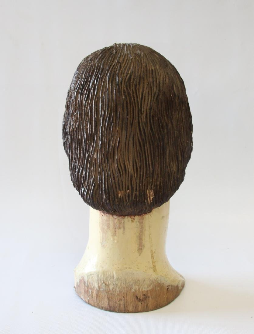 EARLY CARVED WOODEN HEAD - 3