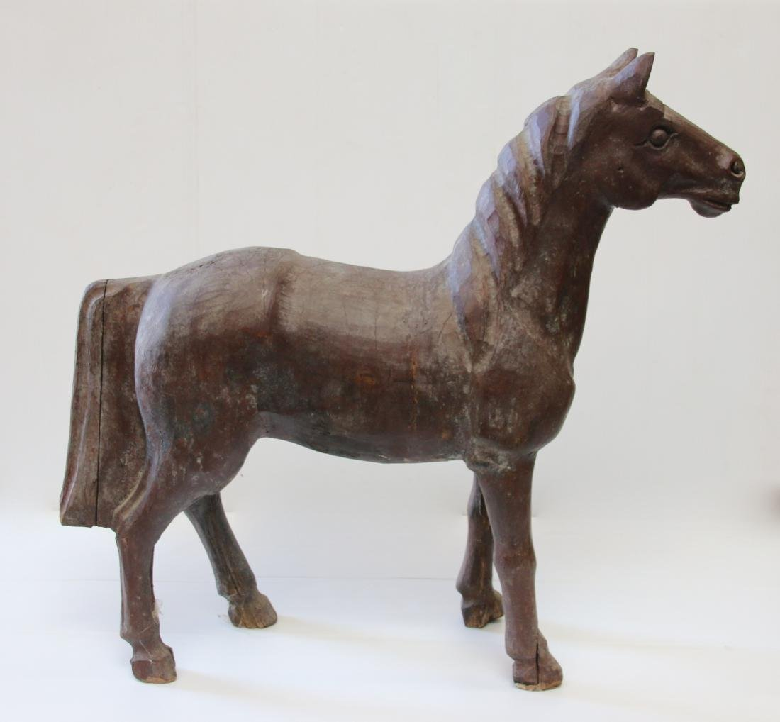 FOLK ART CARVED HORSE