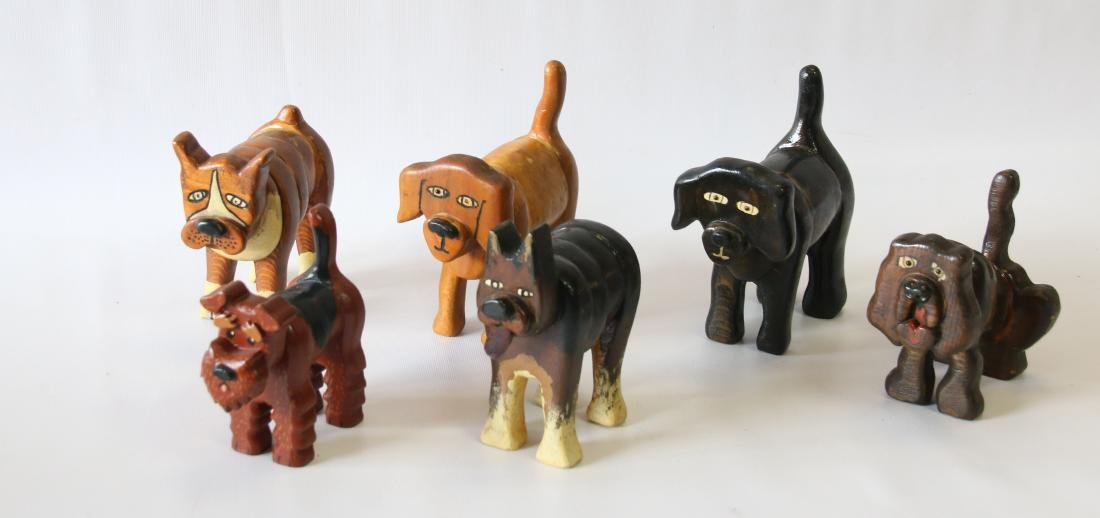 GROUP OF FOLK ART DOGS