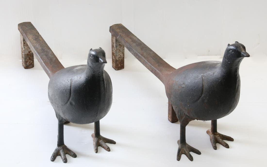 PR. OF CAST IRON PHEASANT ANDIRONS