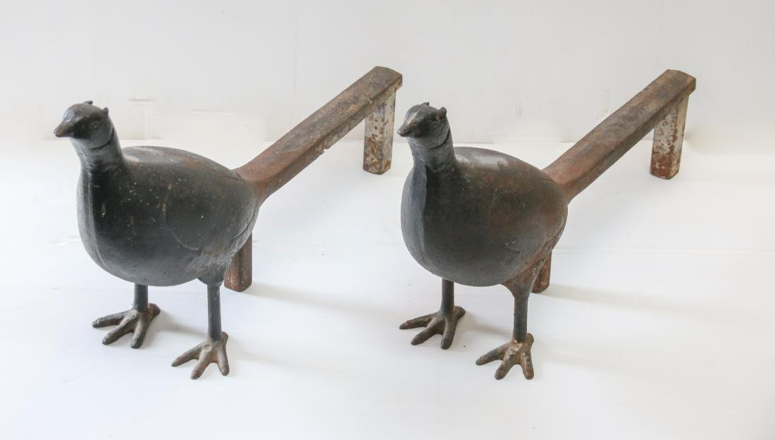PR. OF CAST IRON PHEASANT ANDIRONS - 2