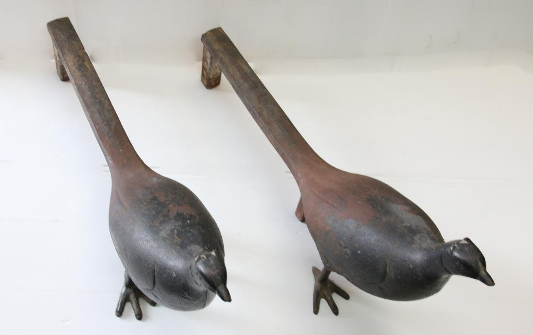 PR. OF CAST IRON PHEASANT ANDIRONS - 3