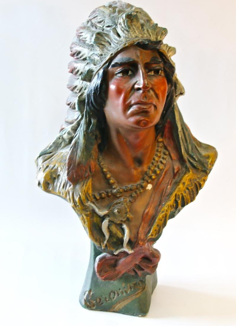 CHALKWARE BUST INDIAN