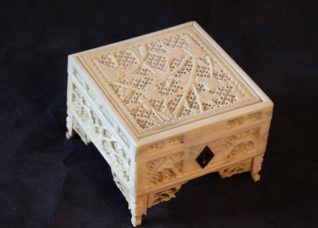 CHINESE CARVED CRICKET BOX - 3