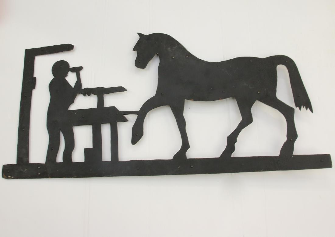 TIN HORSE AND BLACKSMITH WEATHER VANE