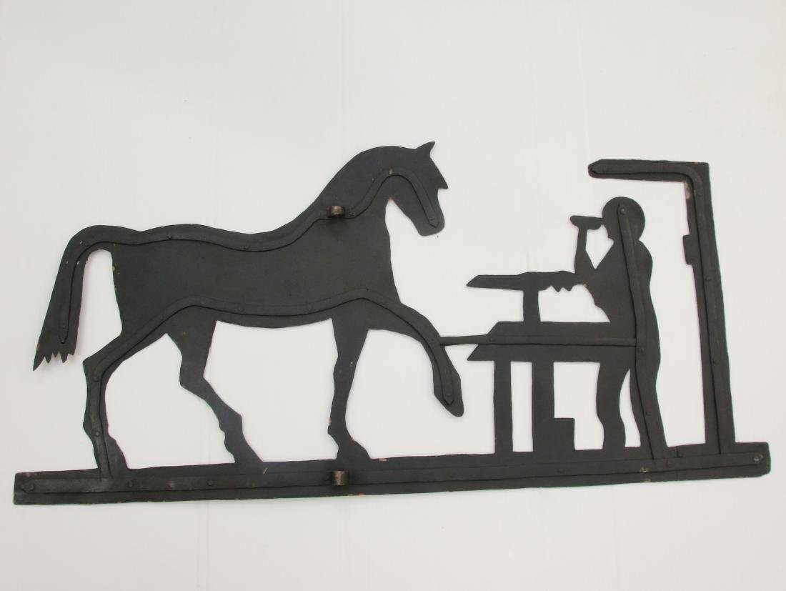 TIN HORSE AND BLACKSMITH WEATHER VANE - 2
