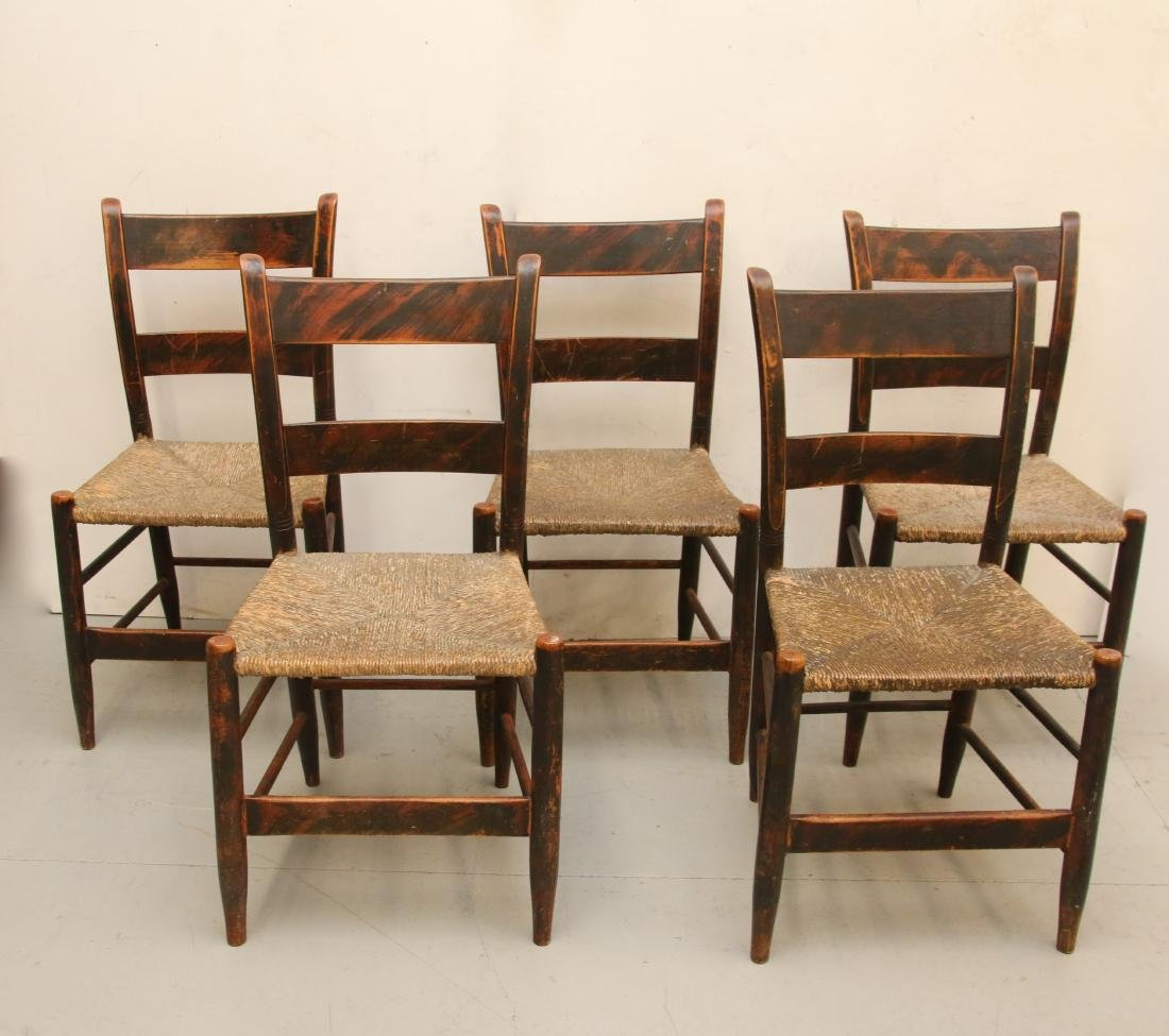 LOT OF PAINT DECORATED CHAIRS