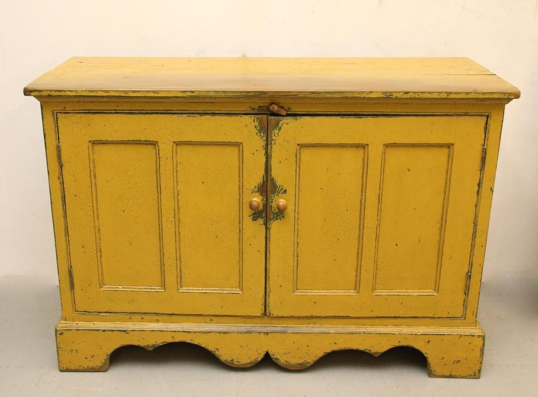EARLY PAINT DECORATED CUPBOARD