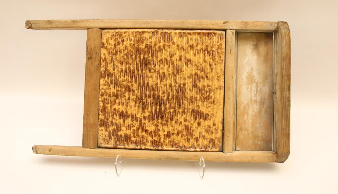EARLY YELLOW WARE WASHBOARD