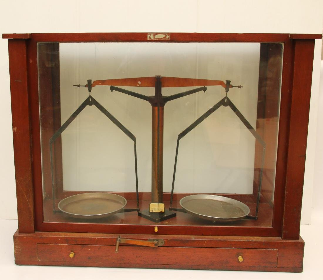BRASS SCALE IN GLASS CASE
