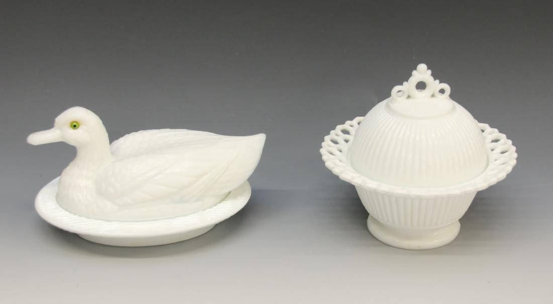 PR. OF MILK GLASS COVERED DISHES