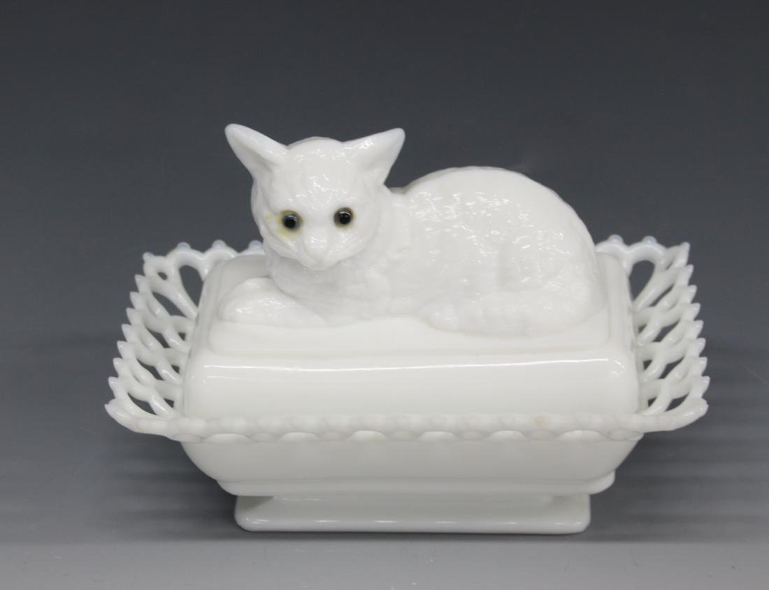 MILK GLASS COVERED DISH