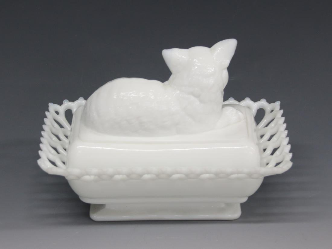 MILK GLASS COVERED DISH - 2
