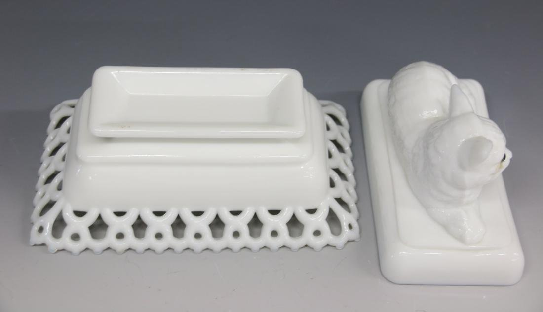 MILK GLASS COVERED DISH - 3
