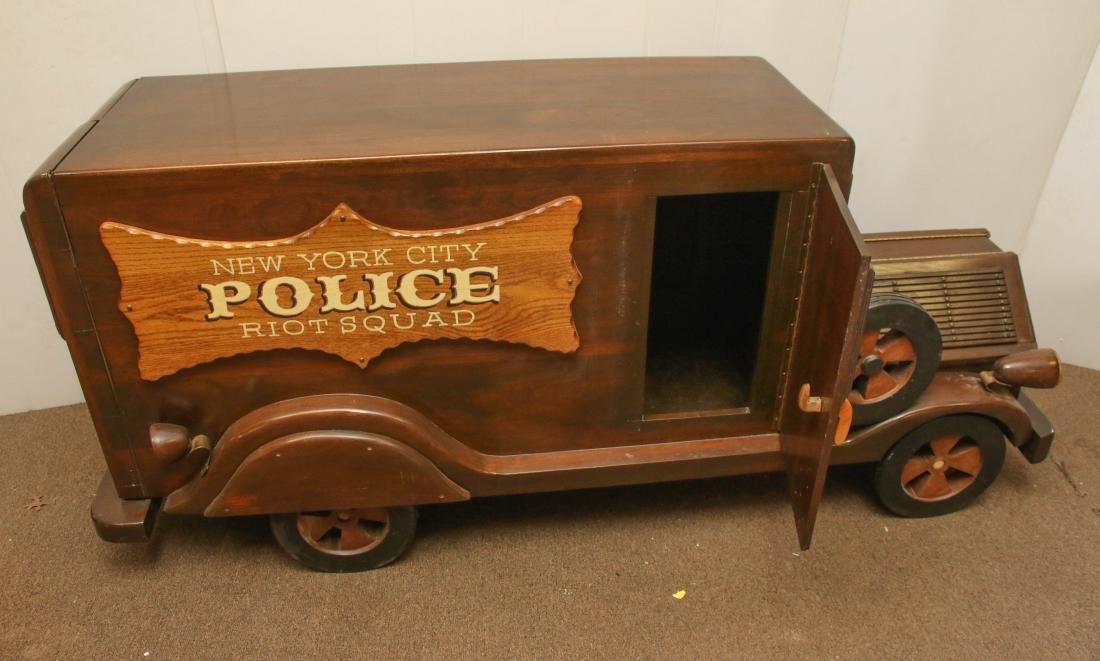 HANDMADE WOODEN POLICE TRUCK - 2