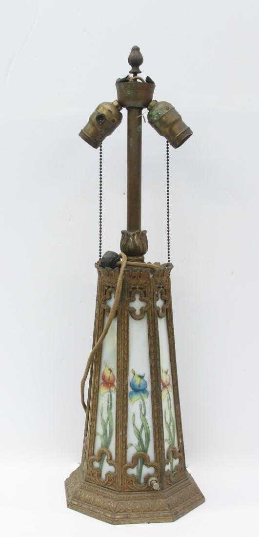 CAST METAL AND SLAG GLASS LAMP