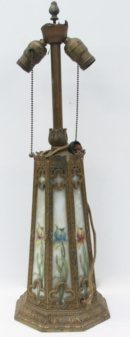 CAST METAL AND SLAG GLASS LAMP - 2