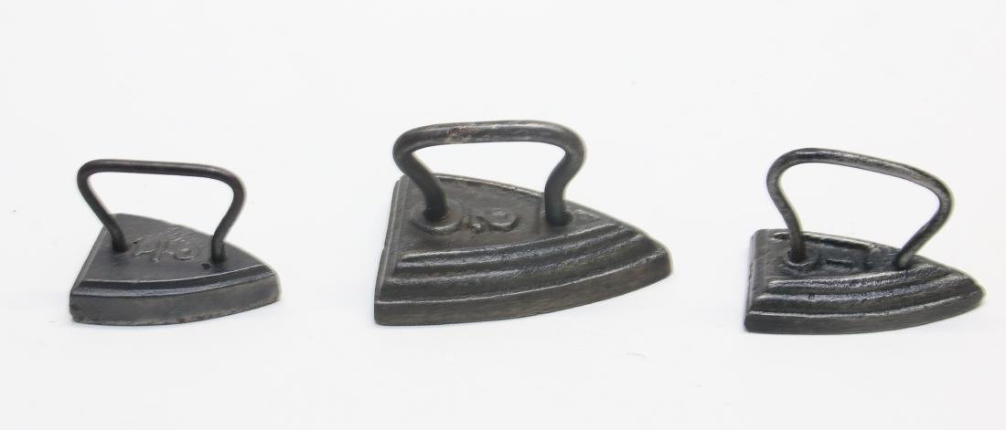LITTLE WIRE HANDLE SAD IRONS - 2