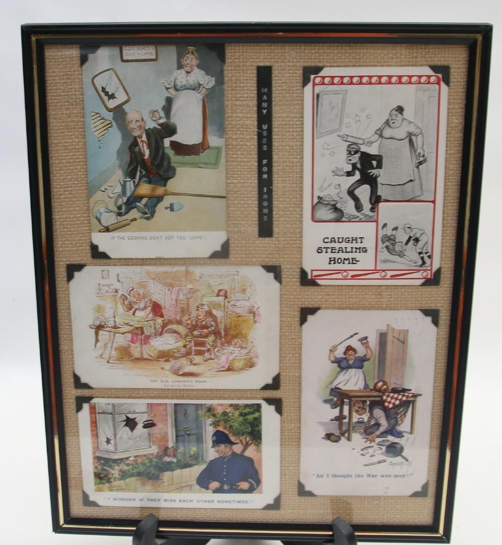 FRAMED ADVERTISING CARD LOT - 5