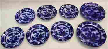 GROUP LOT OF FLOW BLUE CHINA