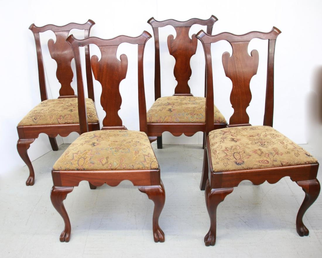 FOUR QUEEN ANNE STYLE SIDE CHAIRS