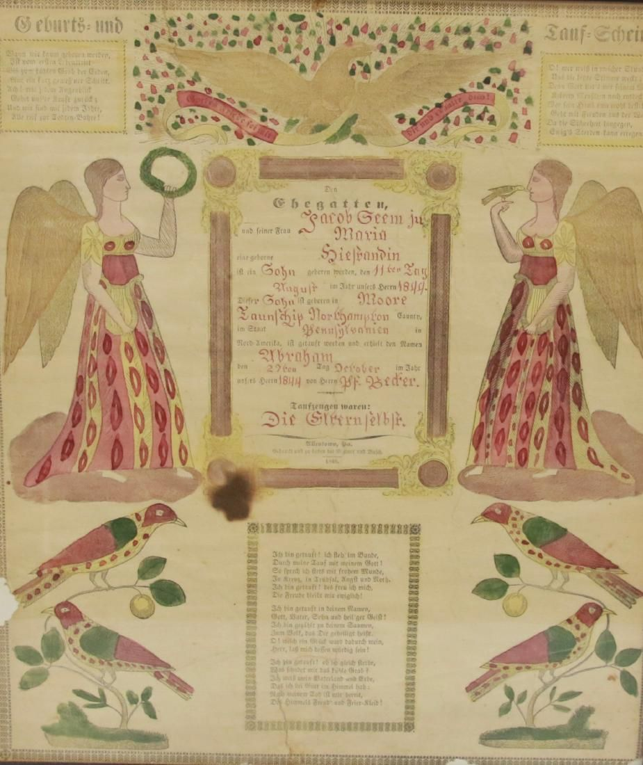 PRINTED AND HAND COLORED FRAKTUR