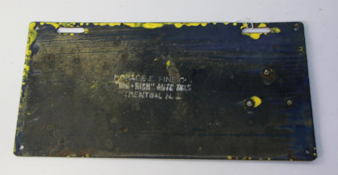 1912 NEW JERSEY PORCELAIN LICENSE PLATE - 3
