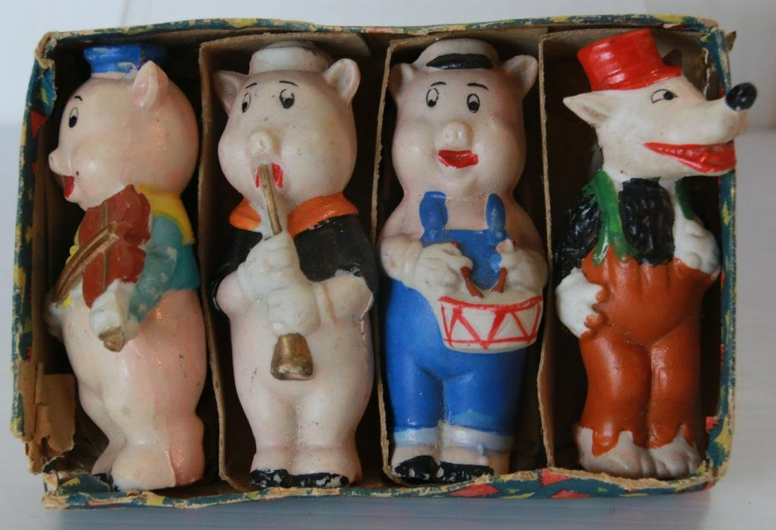 GROUP OF THREE LITTLE PIG BISQUE FIGURES