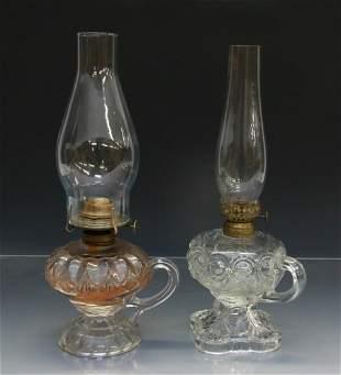 PAIR OF FINGER KEROSENE LAMPS