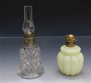 PAIR OF MINIATURE OIL LAMPS