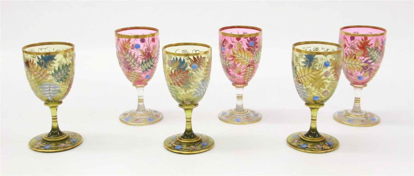 GROUP OF MOSER WINE GLASSES