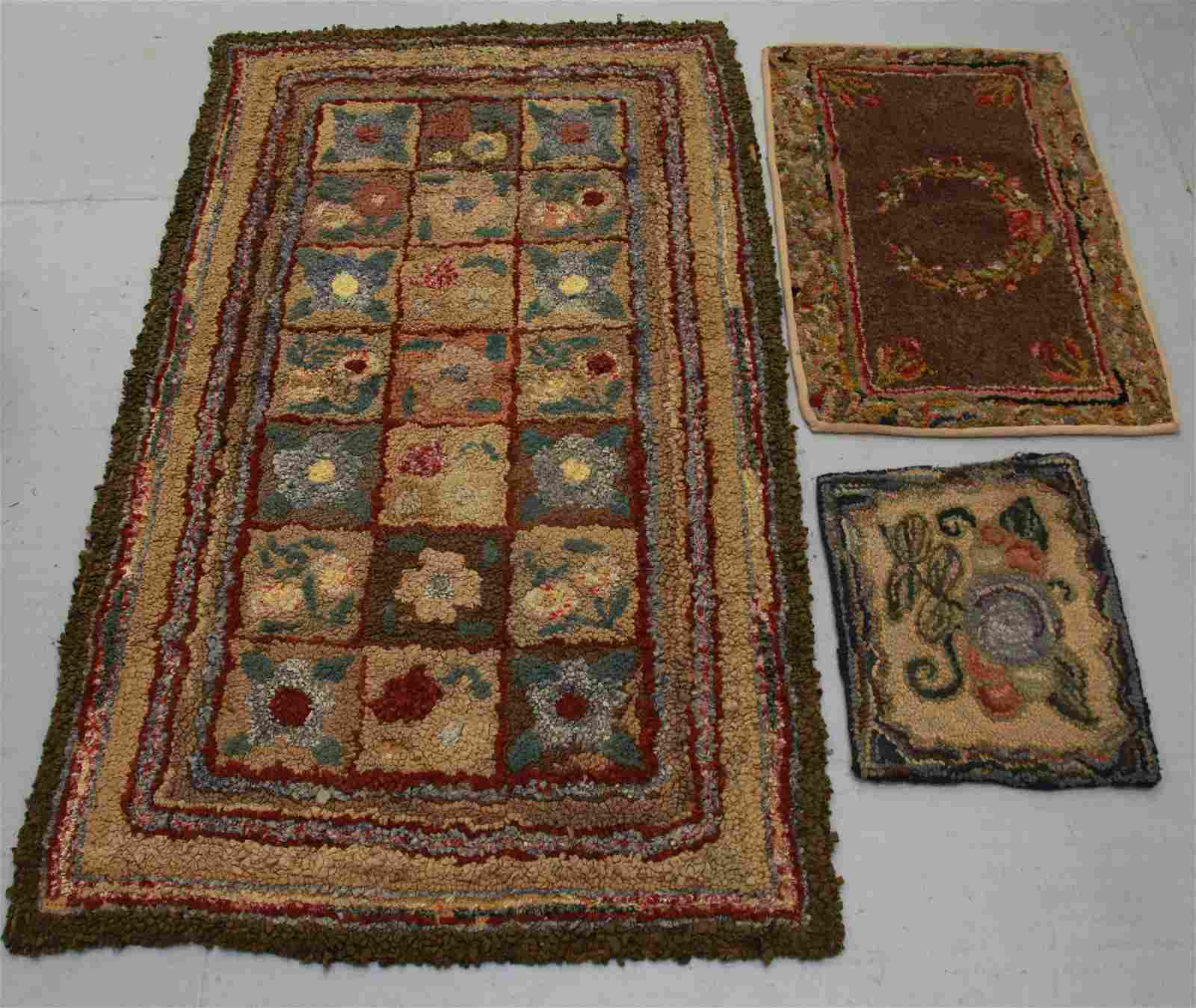 GROUP LOT OF HOOKED RUGS
