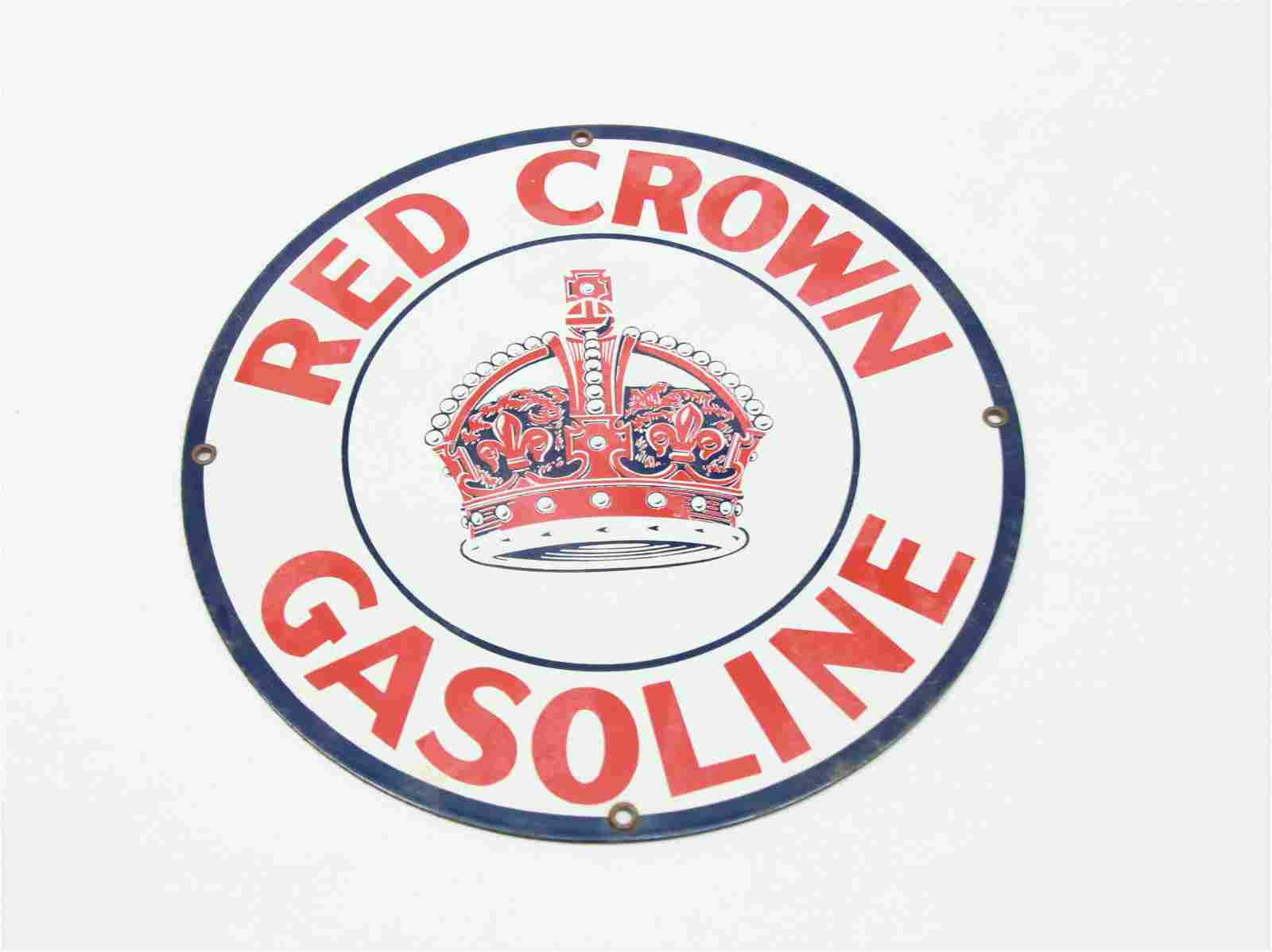 RED CROWN GASOLINE ADVERTISING SIGN