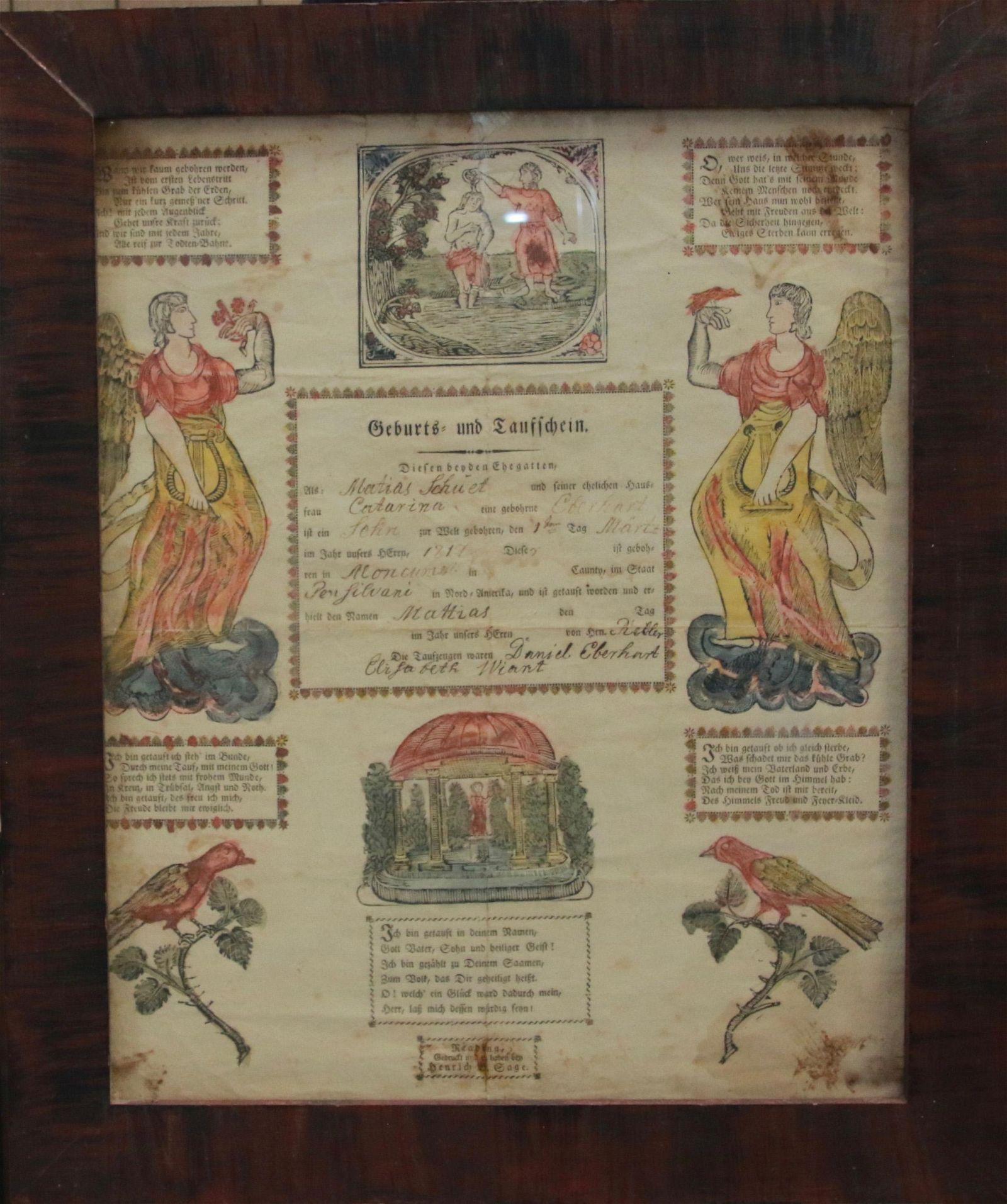 19TH CENTURY PRINTED TAUFSCHEIN