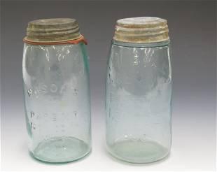 PR OF 19TH CENTURY MASONS FRUIT JARS