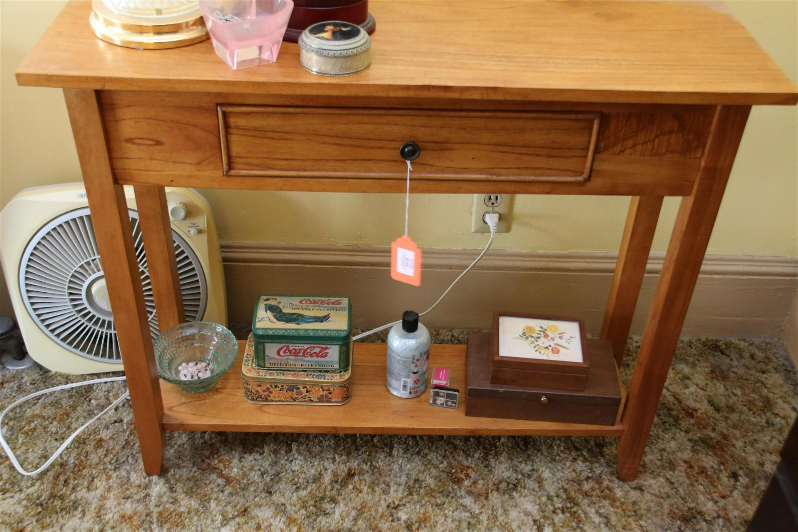 ONE DRAWER TABLE AND CONTENTS
