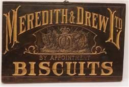 MEREDITH & DREW LTD. BISCUITS WOODEN ADV. SIGN