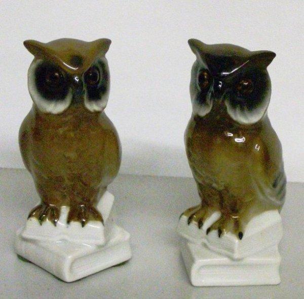 "6: PR. PORCELAIN OWLS W/ GLASS EYES MADE IN GERMANY 4""("