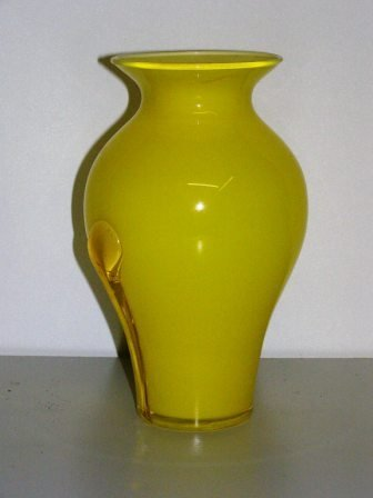 """7: YELLOW 8"""" CONTEMPORARY VASE W/ GLASS OVERLAYS ON EAC"""