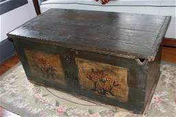 ANTIQUE PAINTED WOODEN BLANKET CHEST