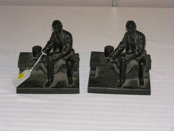 "1001:  PR. ABRAHAM LINCOLN BOOKENDS WHITE METAL 7"" HIGH"