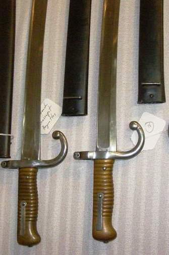 "1018:  (2) FRENCH CHASSE POT BAYONETS 28"" LONG BOTH IN"