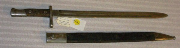 "1019:  SPANISH MAUSER BAYONET 21"" FAIR TO GOOD CONDITIO"
