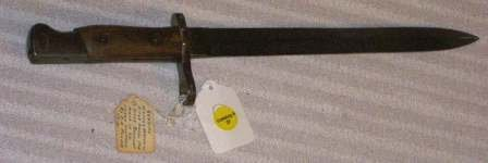 "1027:  SERBIAN MAUSER MODEL 1910 BAYONET 14 1/2"" IN GOO"
