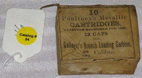 1054: UNOPENED BOX OF (10) GALLAGHERS .50 CARTRIDGES