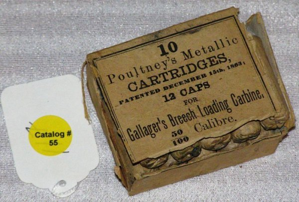 1055: OPENED BOX OF (10) GALLAGHER .50 CALIBER CARTRIDG