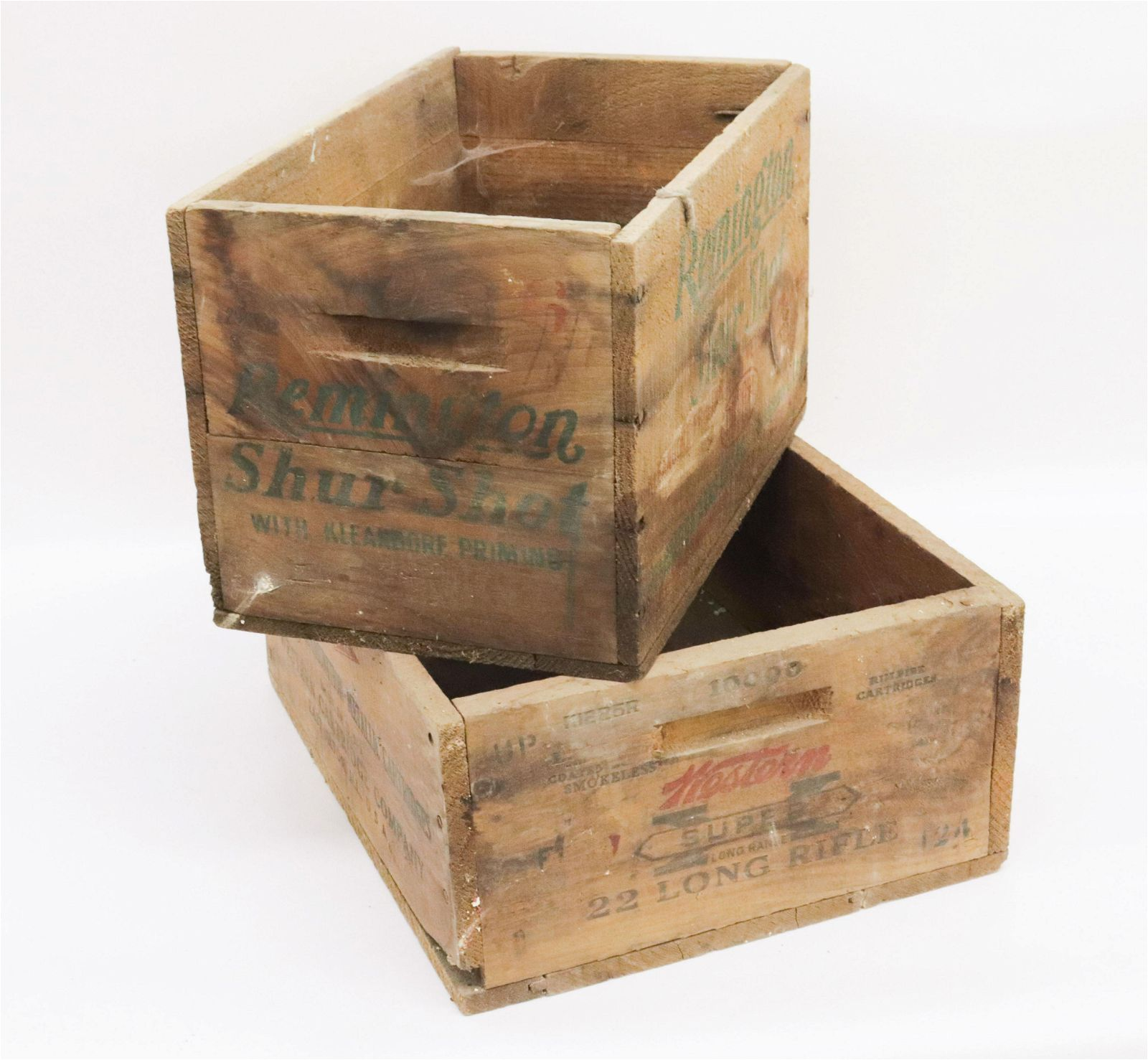 PAIR OF WOODEN ADVERTISING CRATES