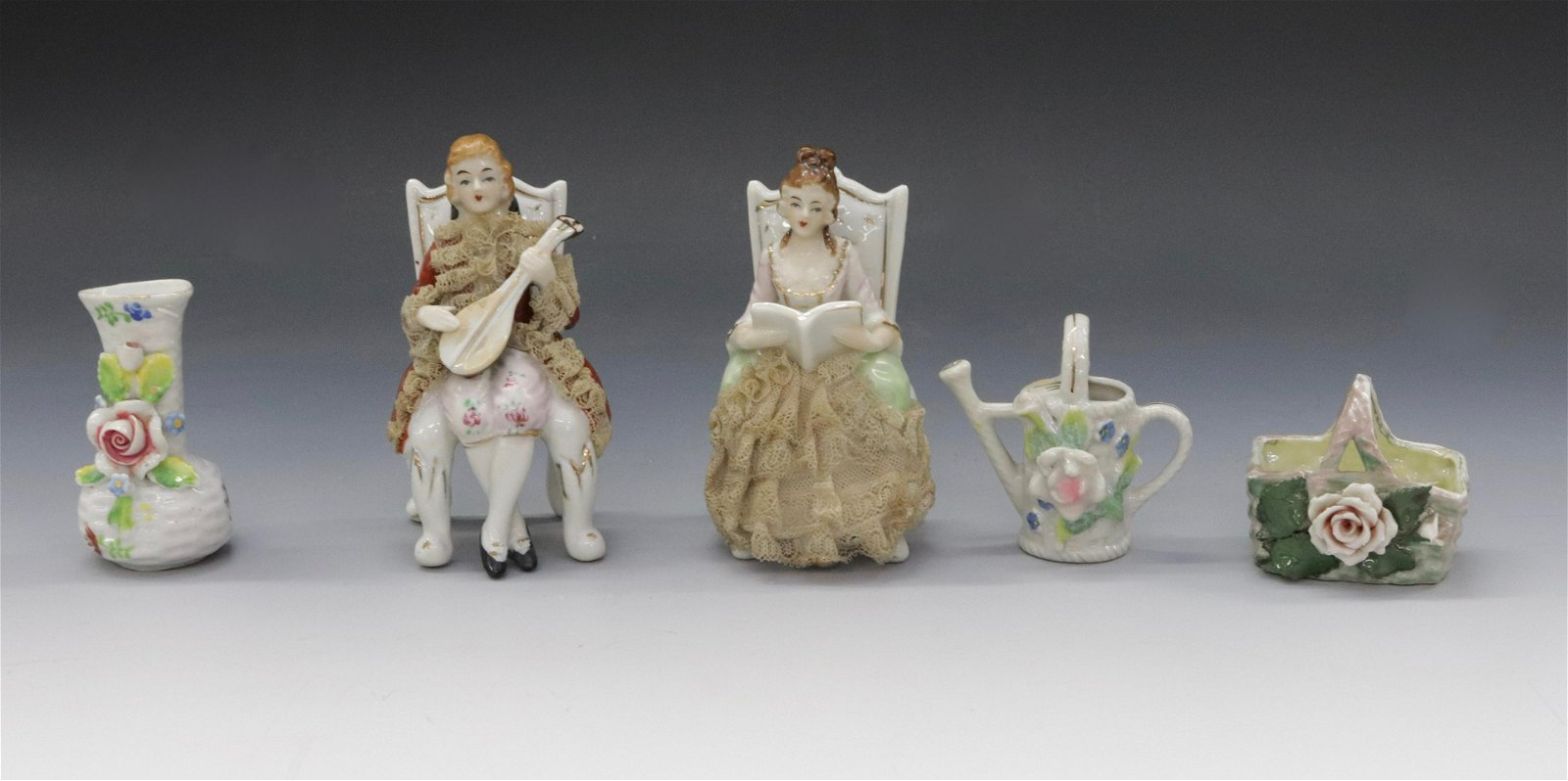 GROUP LOT OF PAINTED PORCELAIN ITEMS