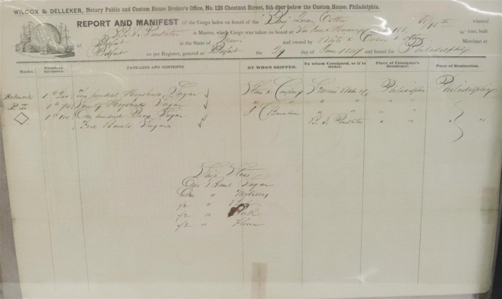 ANTIQUE SHIPPING MANIFEST